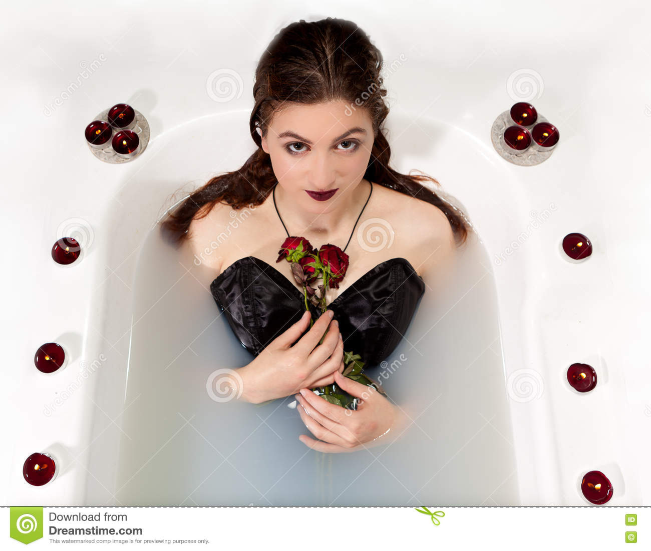 b6f091839ed Girl Milk Water Bath Red Roses Candles Stock Photo - Image of ...