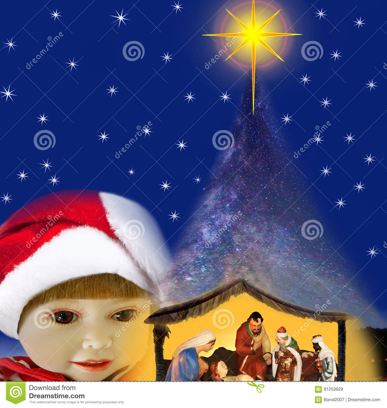 The Miracle Of Christmas.Girl Miracle Of Christmas Night Stock Image Image Of
