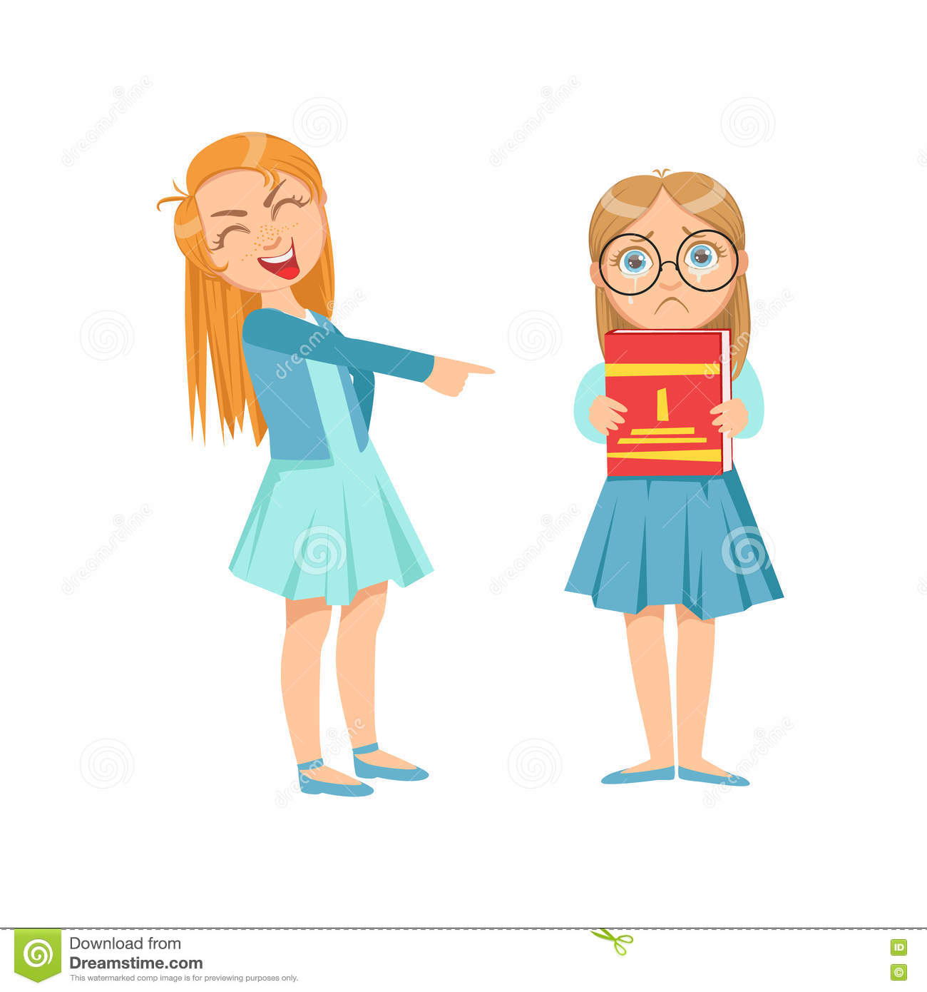 Girl Mocking Clever Kid In Glasses Teenage Bully Demonstrating Mischievous Uncontrollable Delinquent Behavior Cartoon