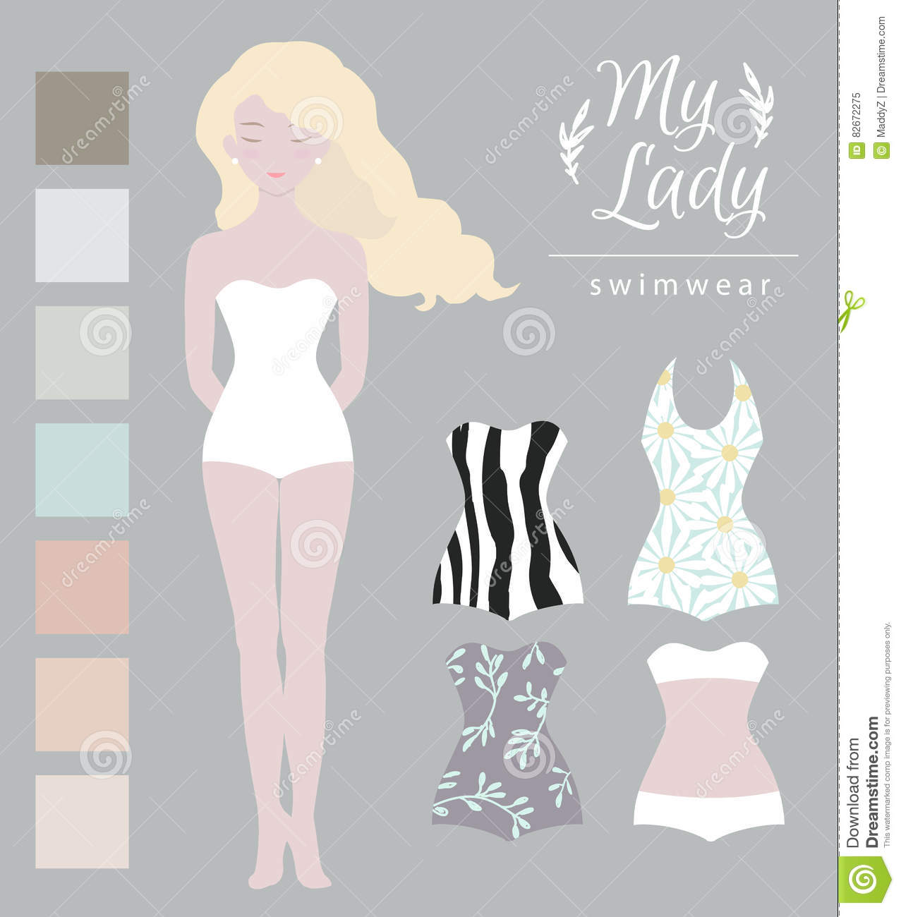 paper doll template woman - vector cute dress up paper doll vector illustration