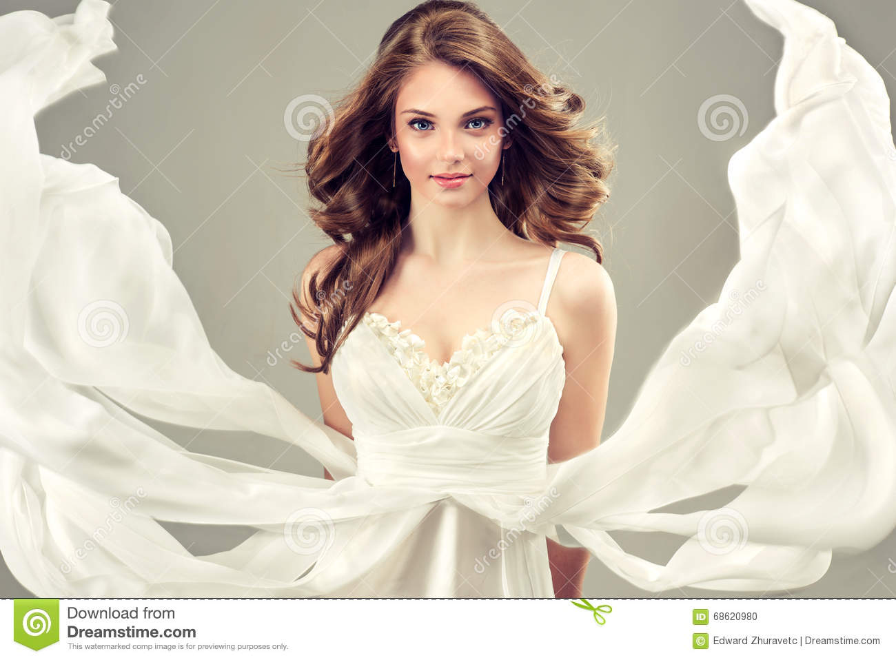Girl Model In A White Wedding Dress. Stock Photo - Image of elegant ...
