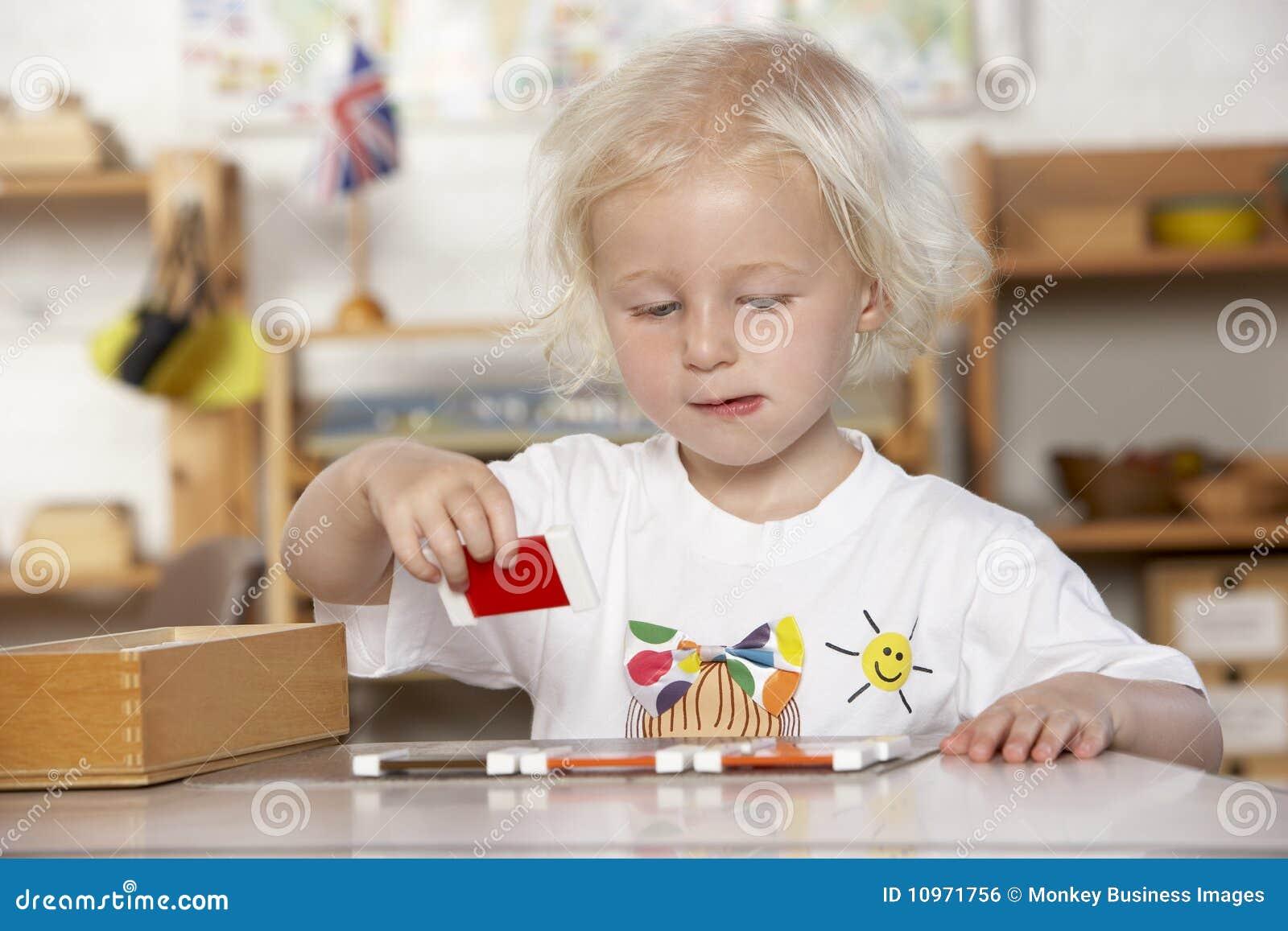 Girl montessori playing pre school young