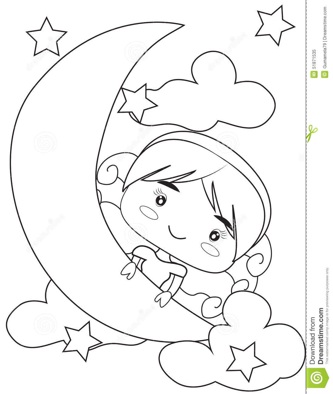 on the moon coloring page stock illustration image 51871535