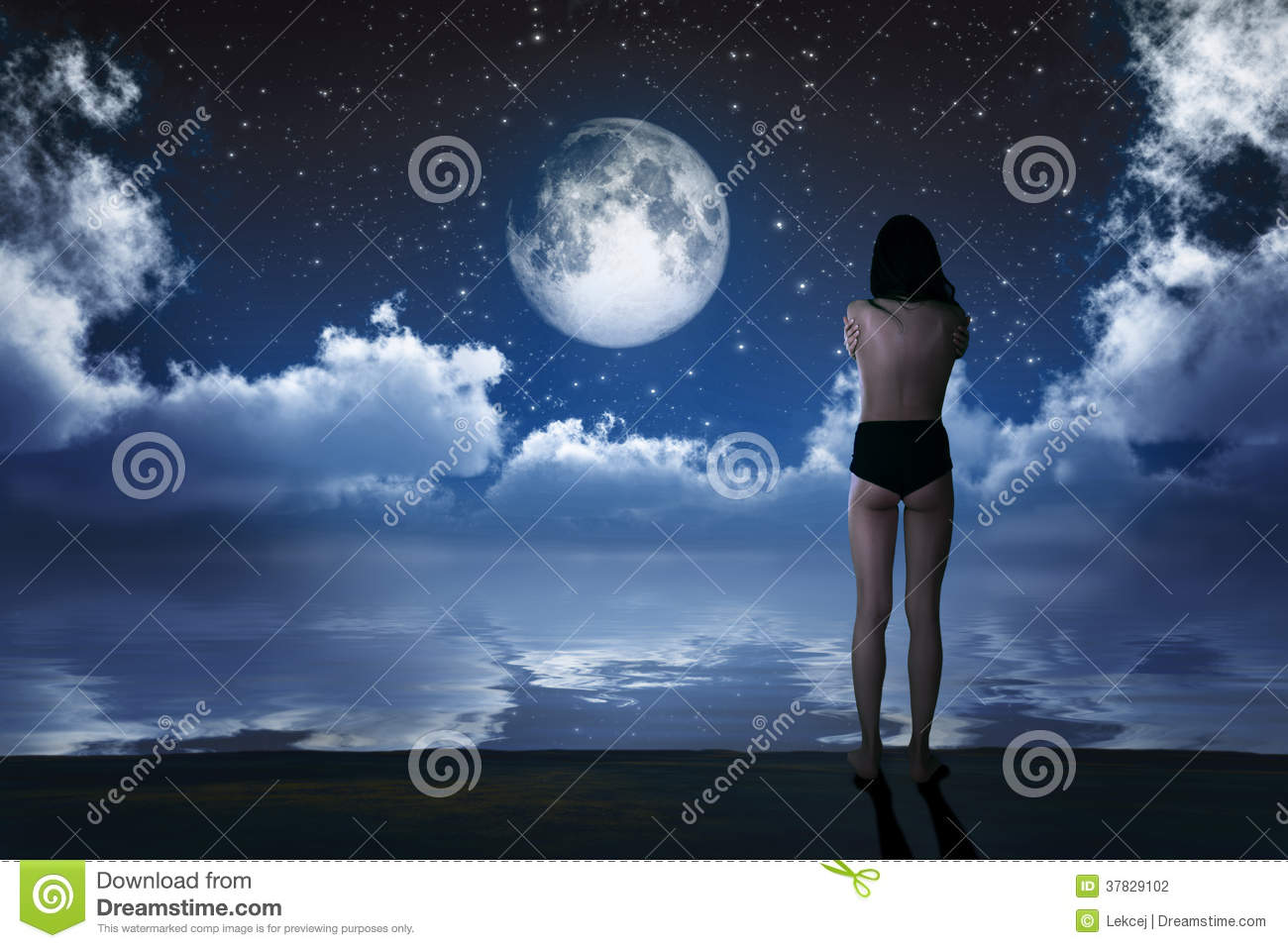 Girl In Moonlight Stock Photography - Image 37829102-4980