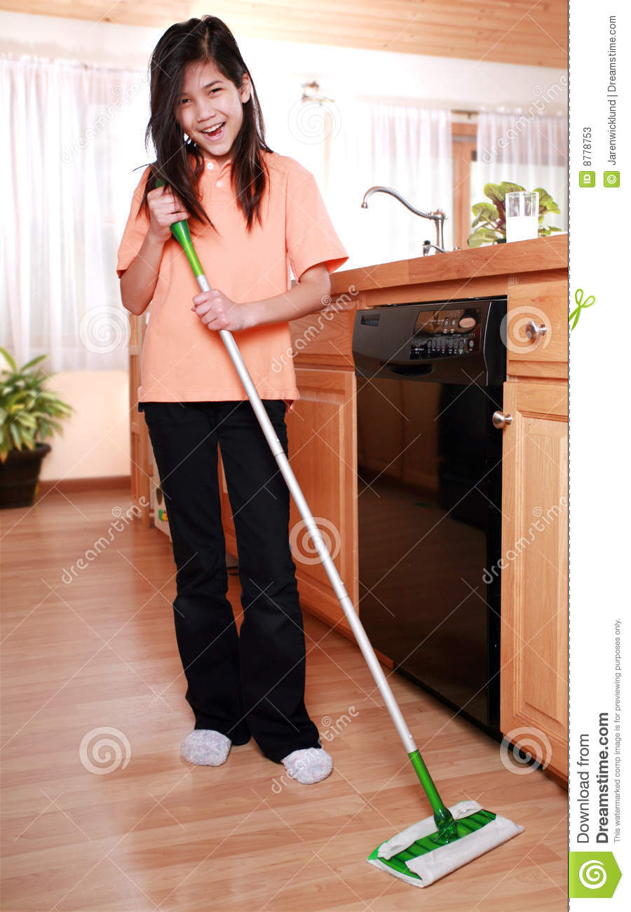 Kitchen Floor Mop Girl Mopping Kitchen Floor Stock Photos Image 8778753