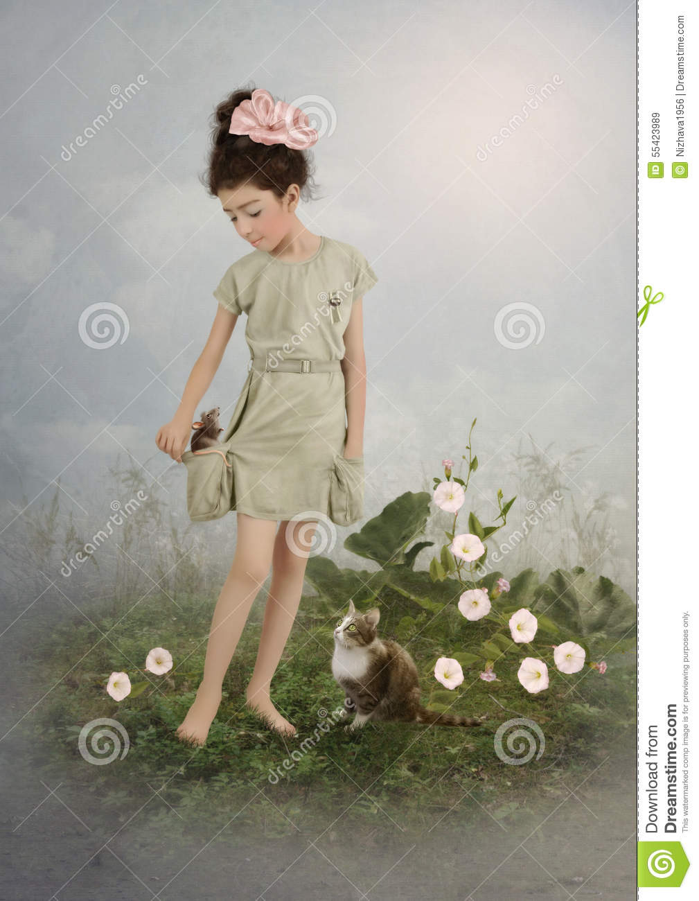 Girl, mouse and cat