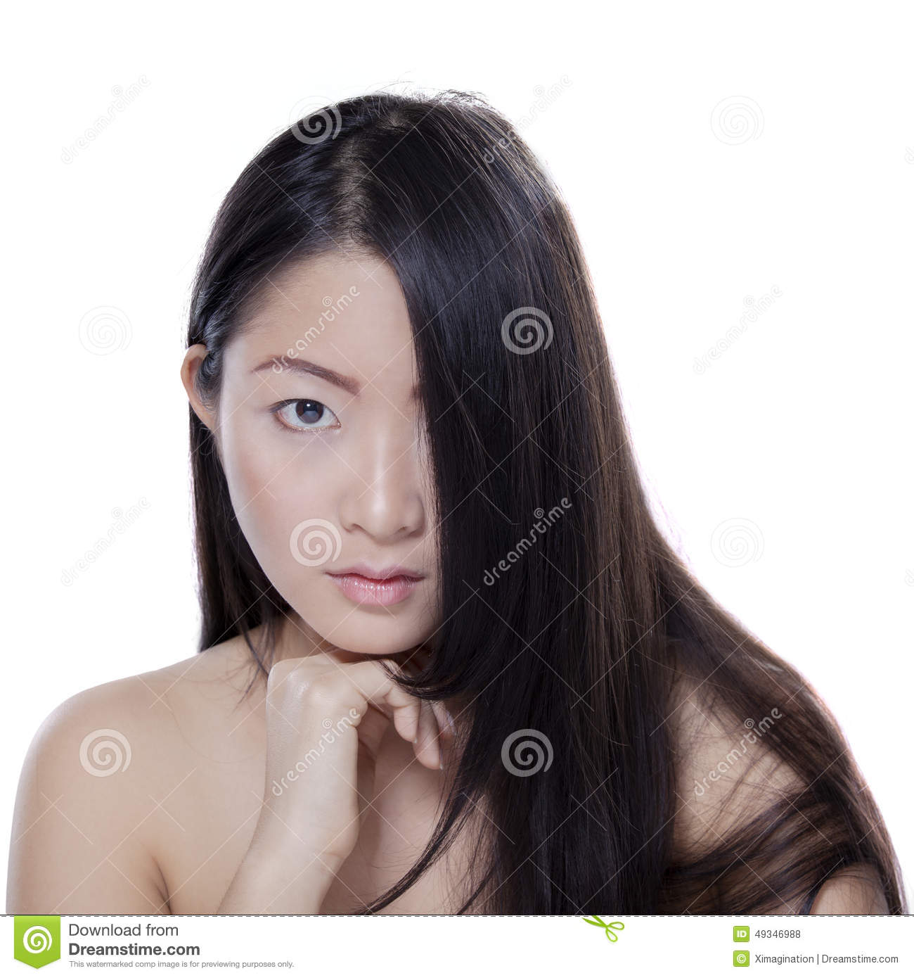 Girl With Natural Skin And Hair In Studio Stock Photo ...