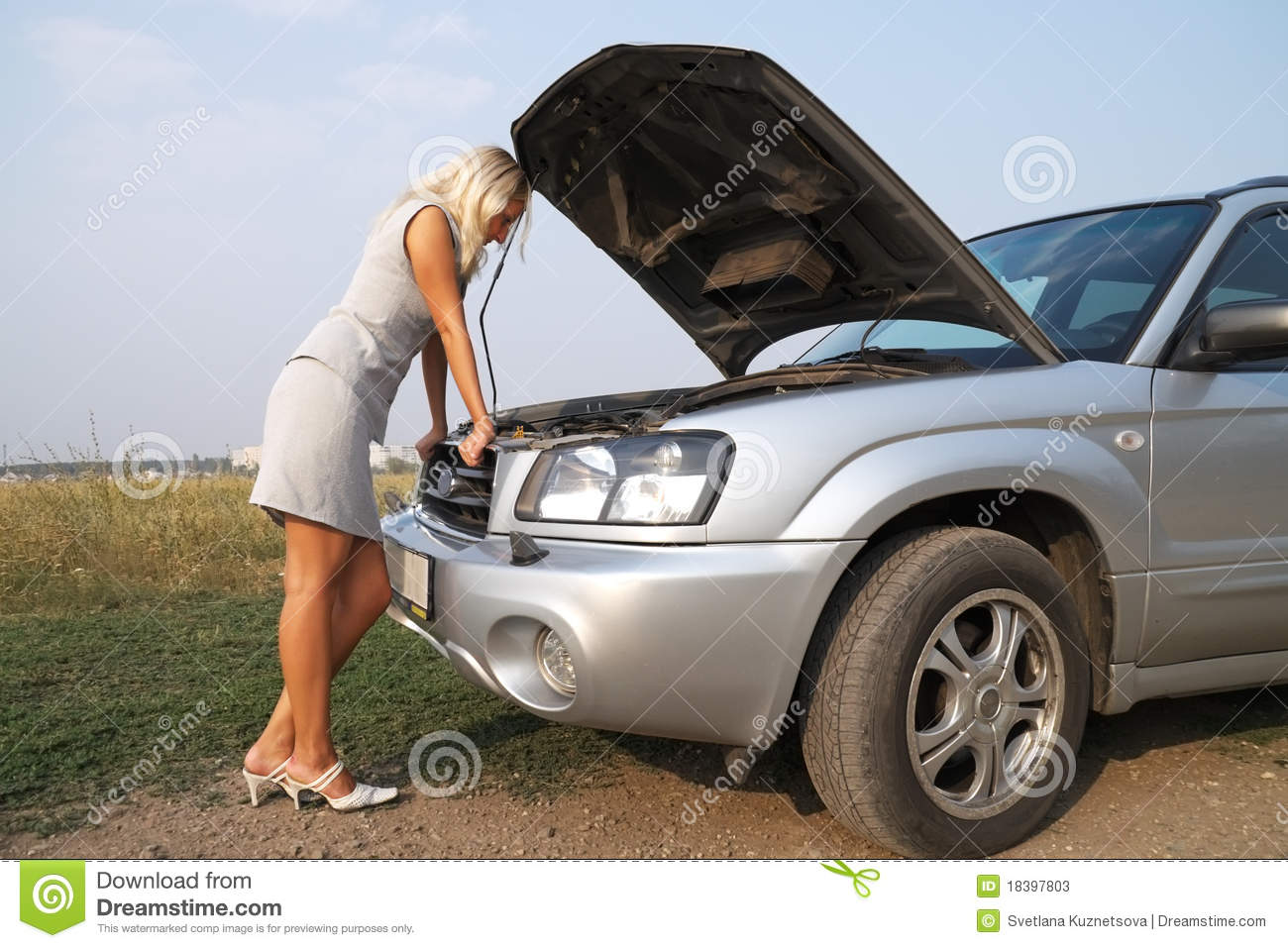 girl near the car with an open hood stock photography 81107984. Black Bedroom Furniture Sets. Home Design Ideas
