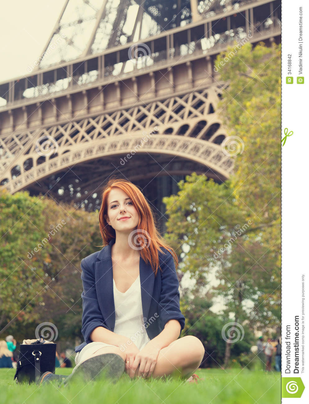 Girl near eiffel tower stock photography image 34168842