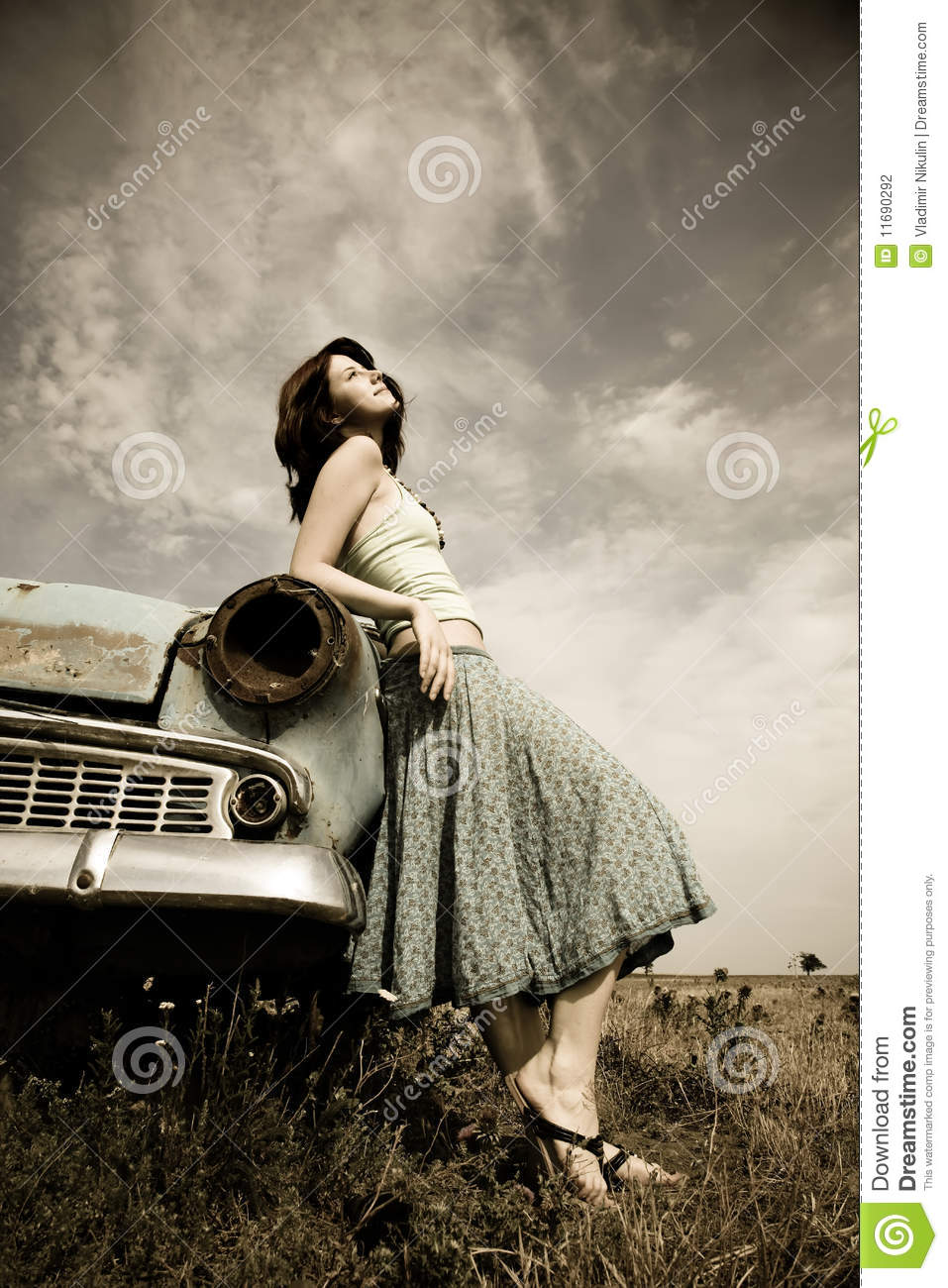 Girl Near Old Car Stock Photo Image Of Country Pose