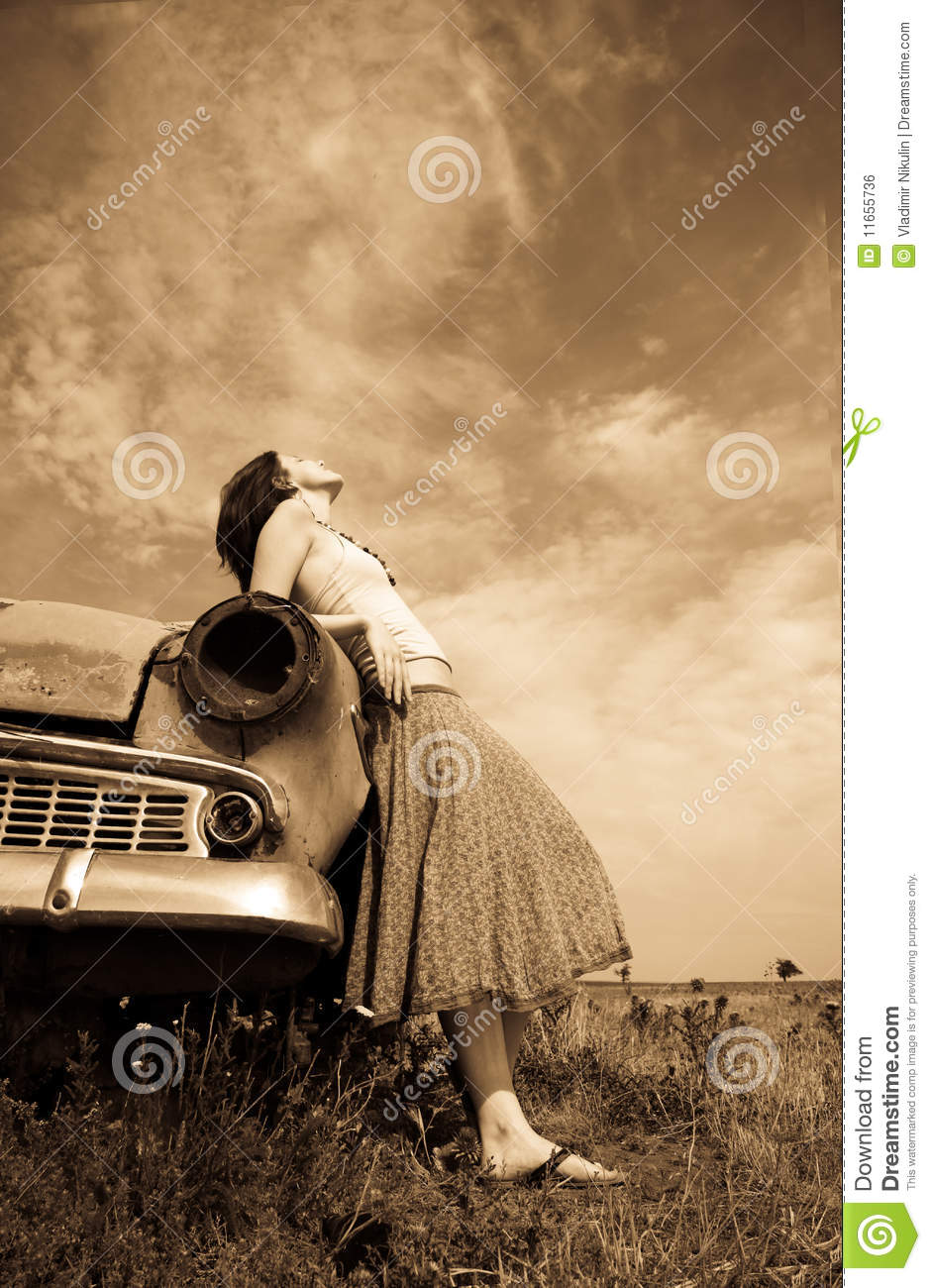 Girl near old car photo in yellow vintage style royalty for Vintage stuhle gunstig