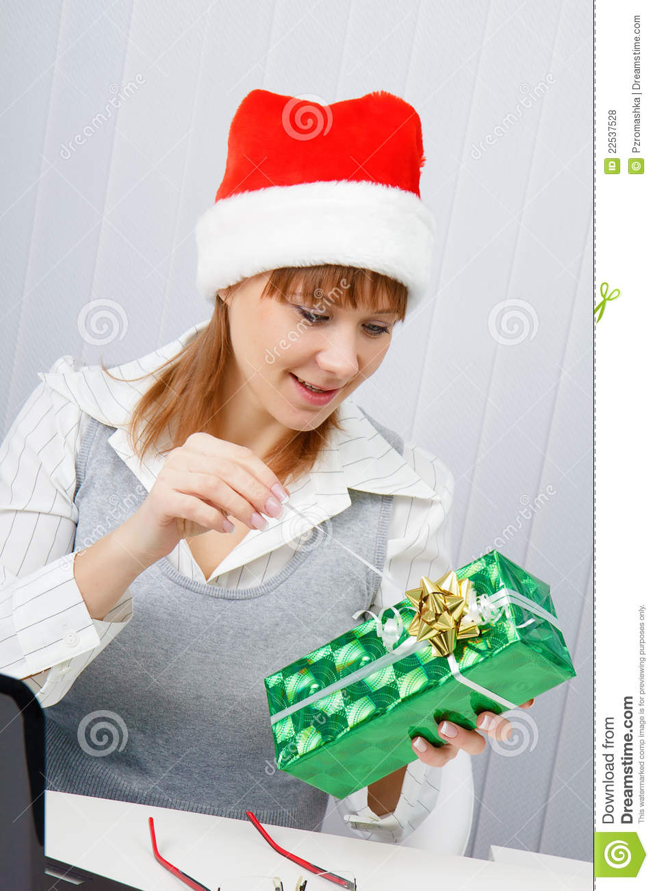 Girl In The Office With A New Year Gift Royalty Free Stock ...