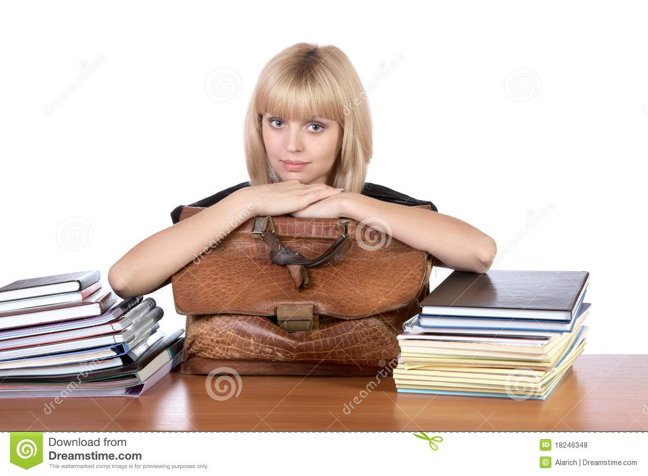 The girl with an old briefcase in hands