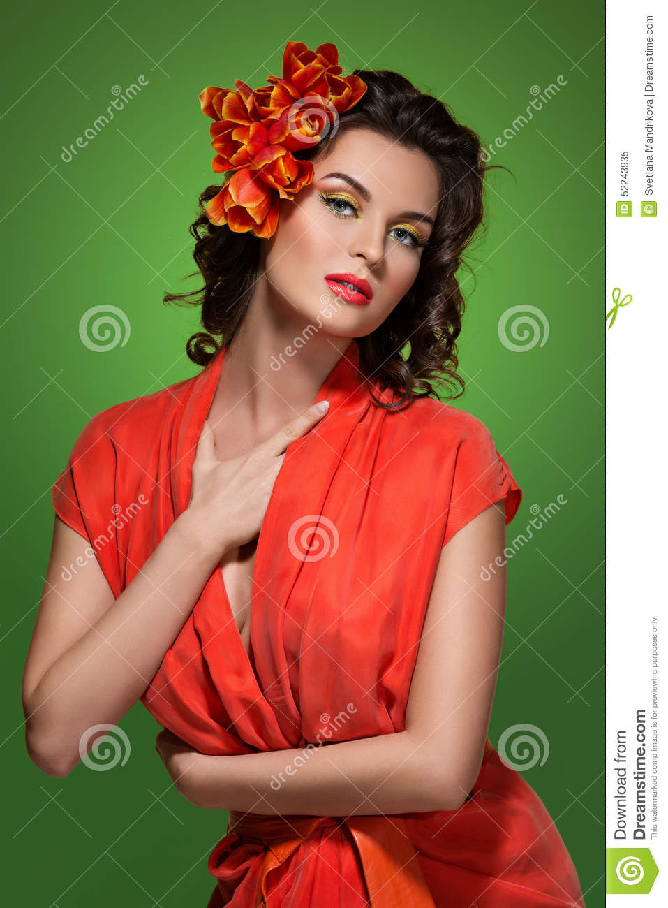 Girl in orange dress stock image. Image of makeup ...