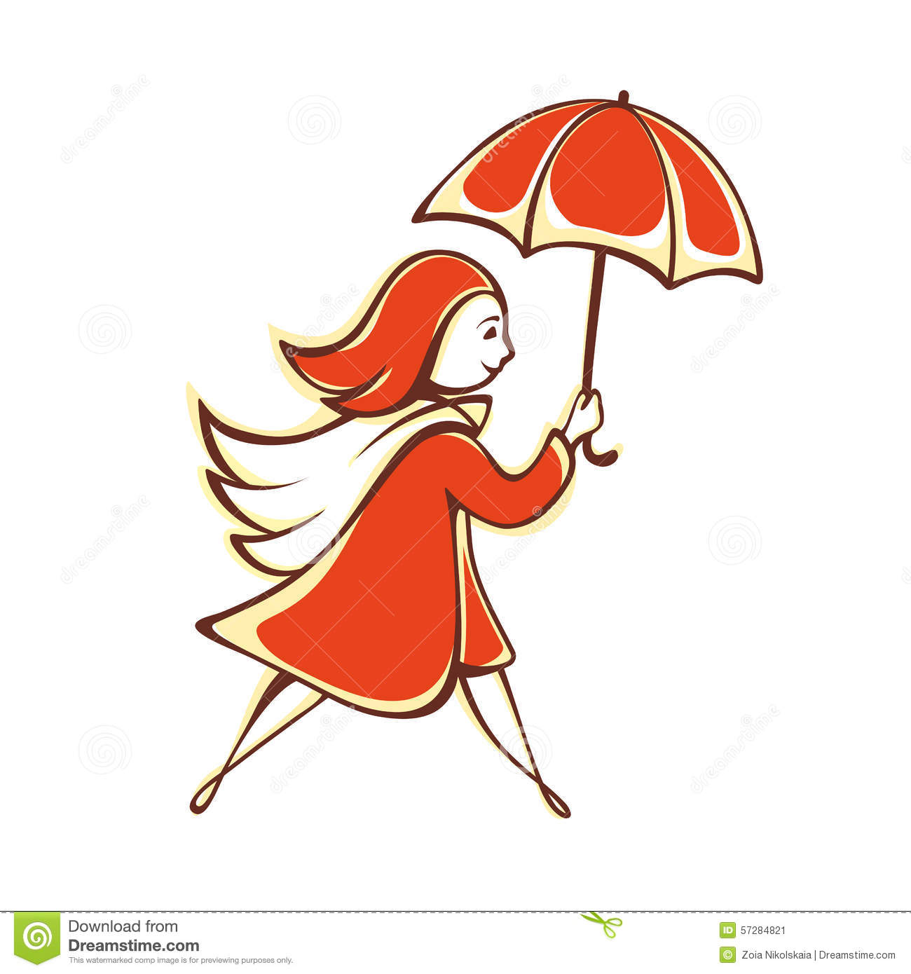 Vector Drawing Lines Java : The girl with an orange umbrella emblem pictogram icon