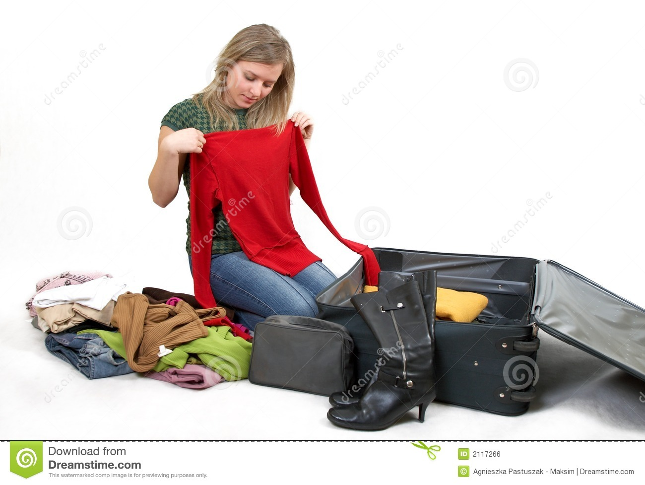 Girl Packing For Holiday Cartoon Vector