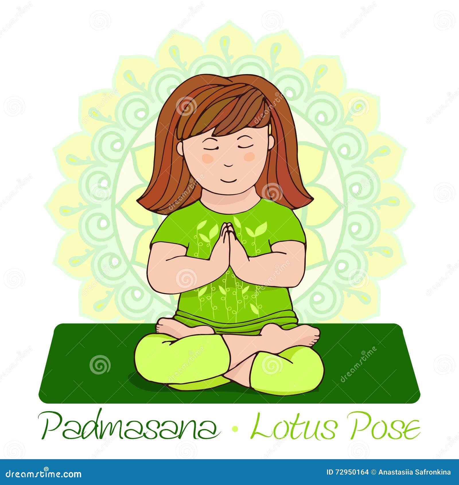Girl In Padmasana With Mandala Background Stock Vector