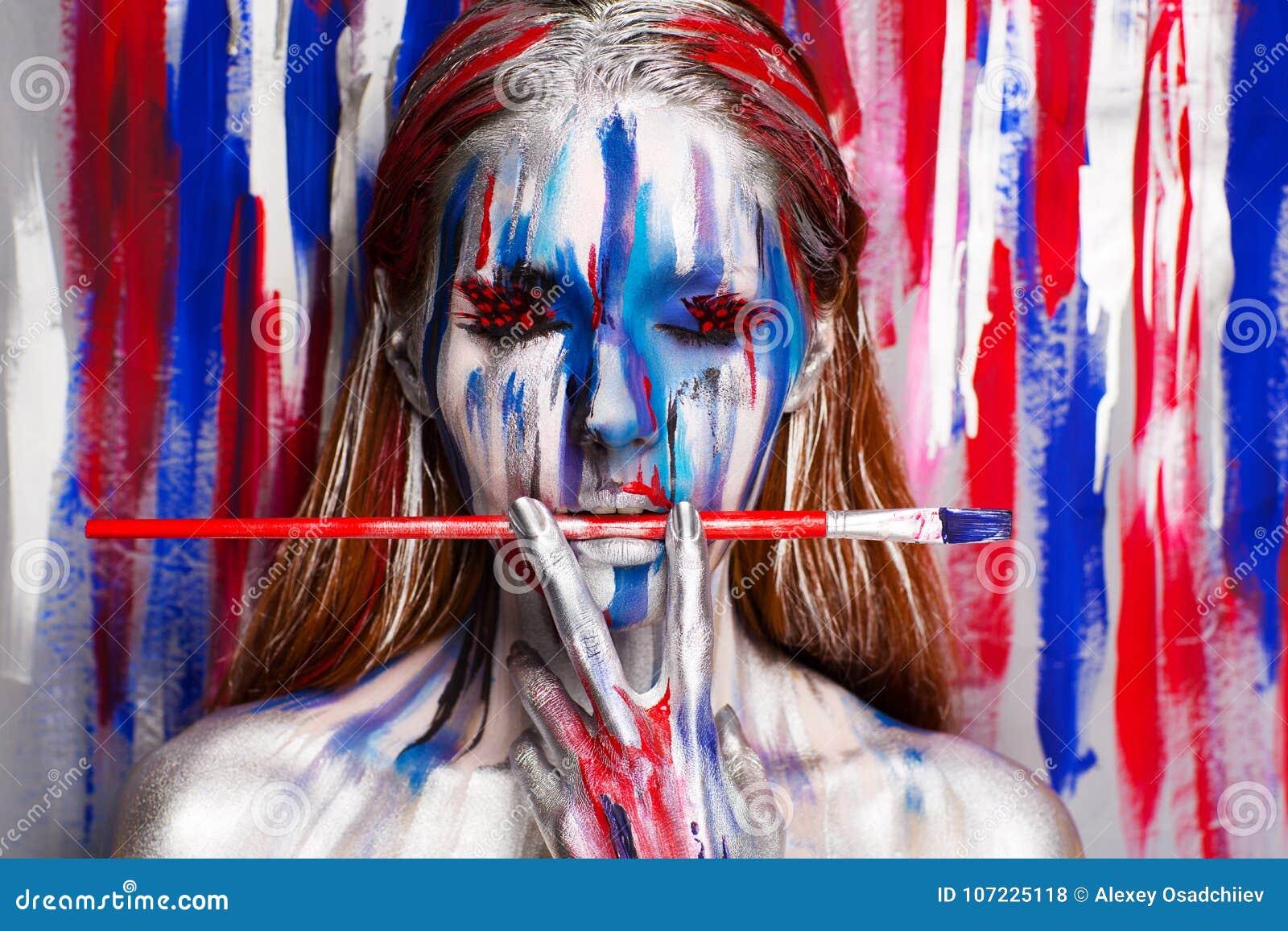 Woman artist body art