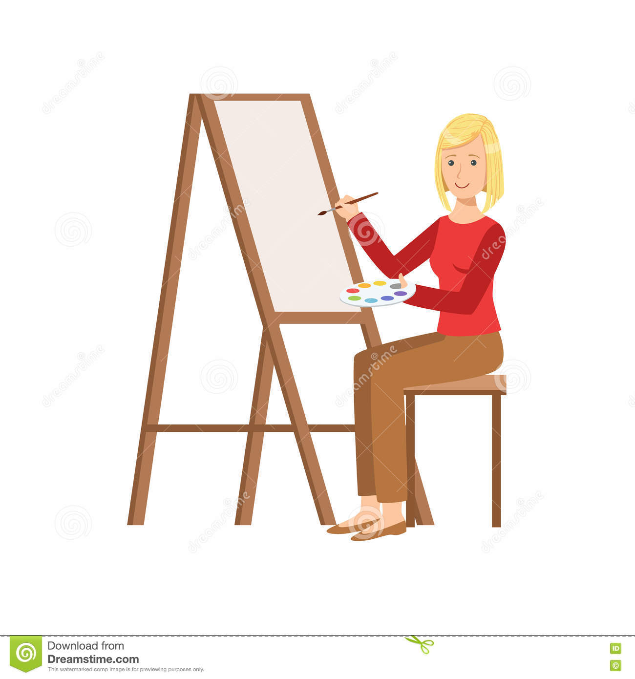 Girl Painting On Canvas, Creative Person Illustration