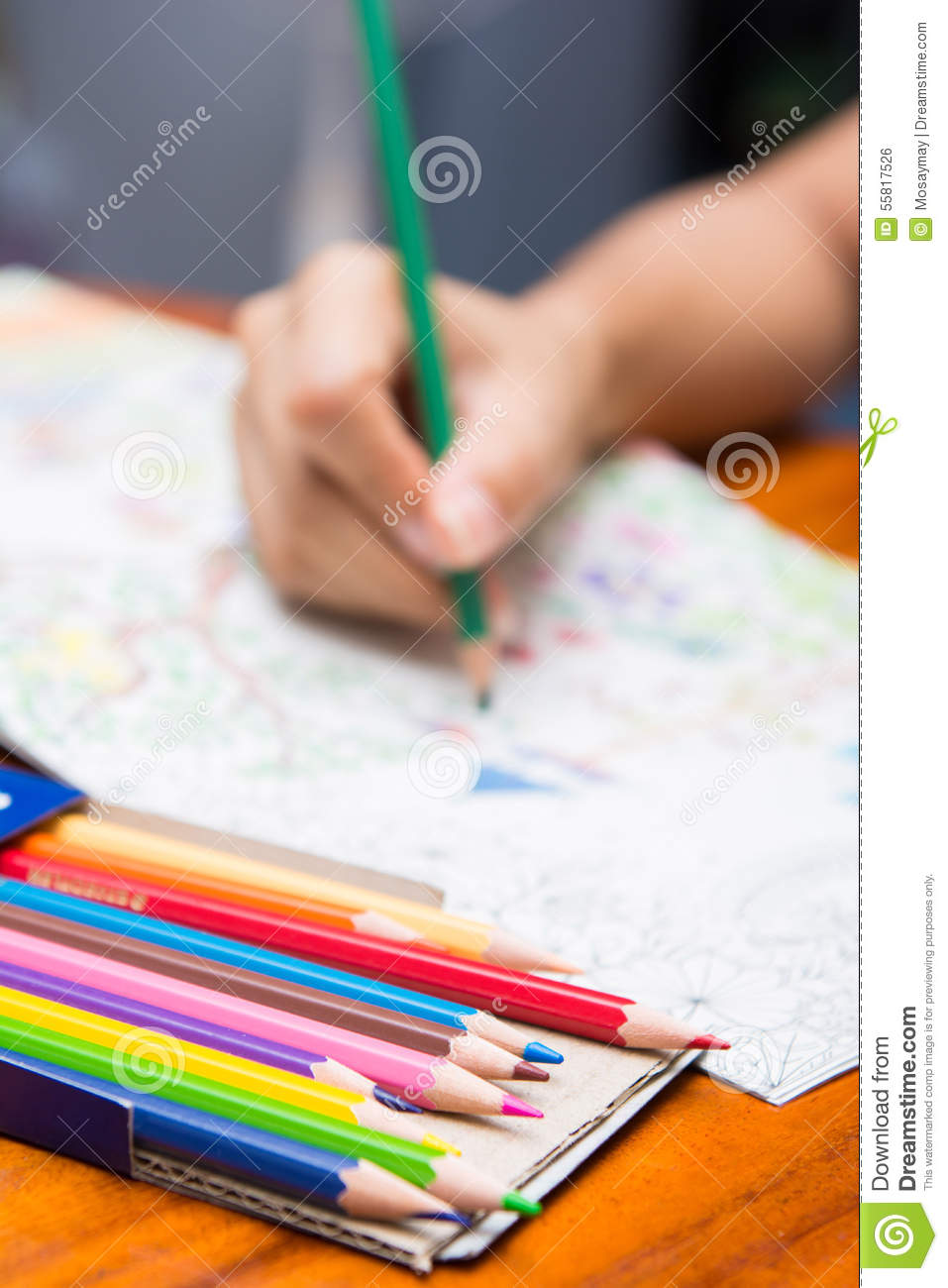 The Girl Is Painting On Coloring Books Stock Photo - Image of paper ...