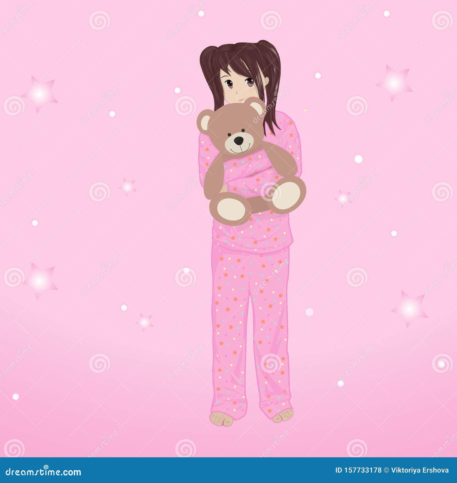 Anime Girl Growth girl in pajamas hugs a bear, anime, vector illustration