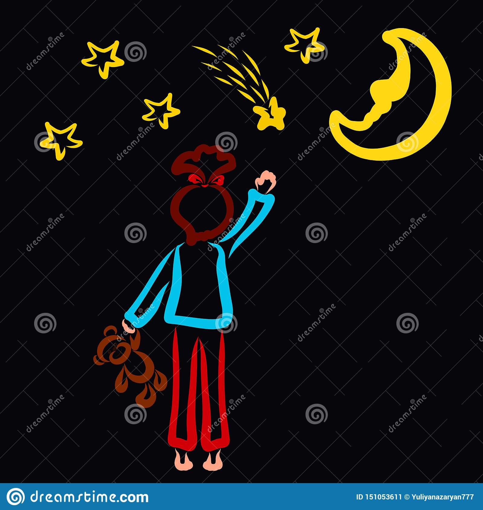 Girl in pajamas with a teddy bear in her hand wants to catch a falling star