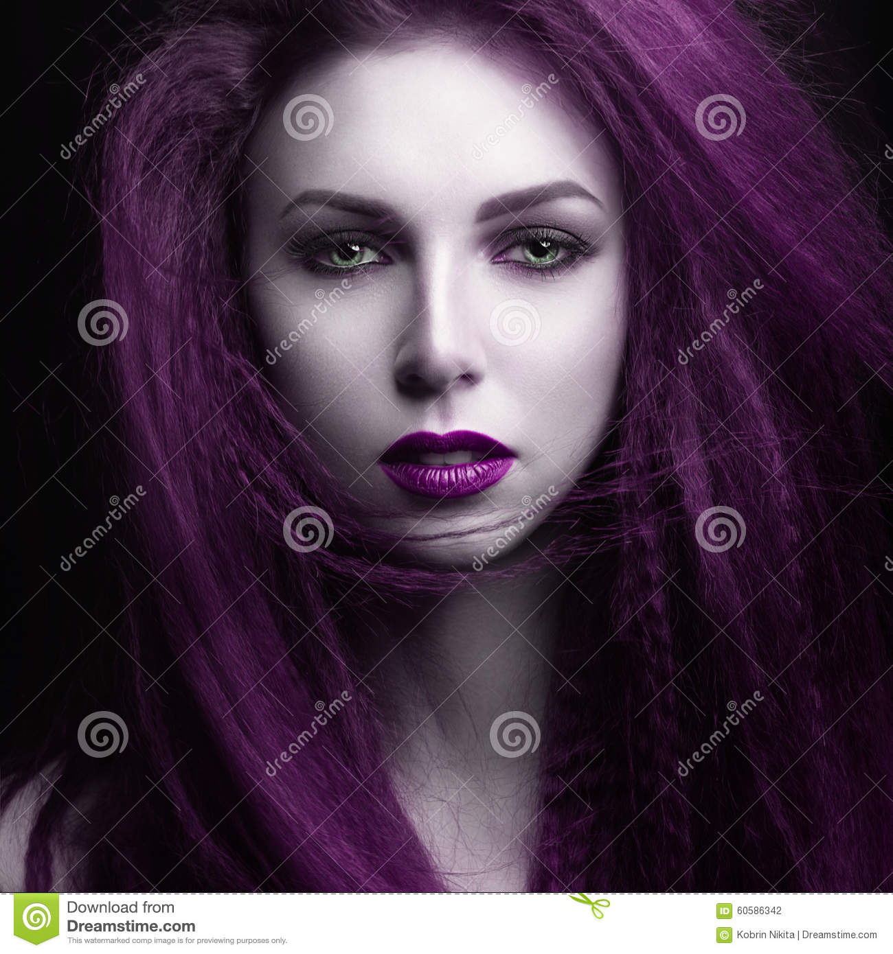 the girl with pale skin and purple hair in the form of a