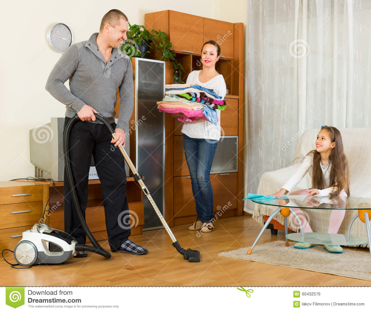 At Home with parents cleaning at home stock photo image 60432576