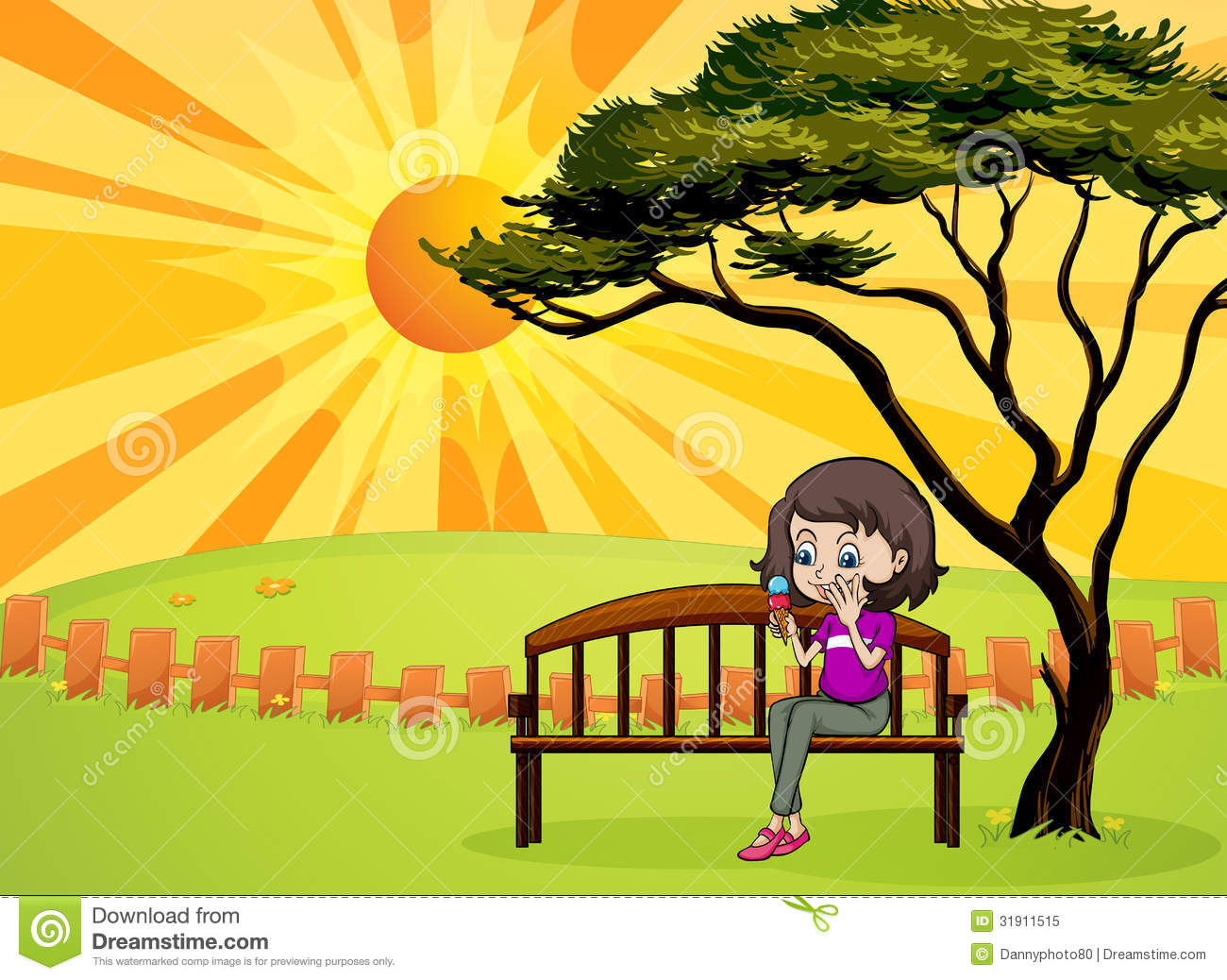 Girl In The Park Sitting In The Wooden Bench Royalty Free Stock ...