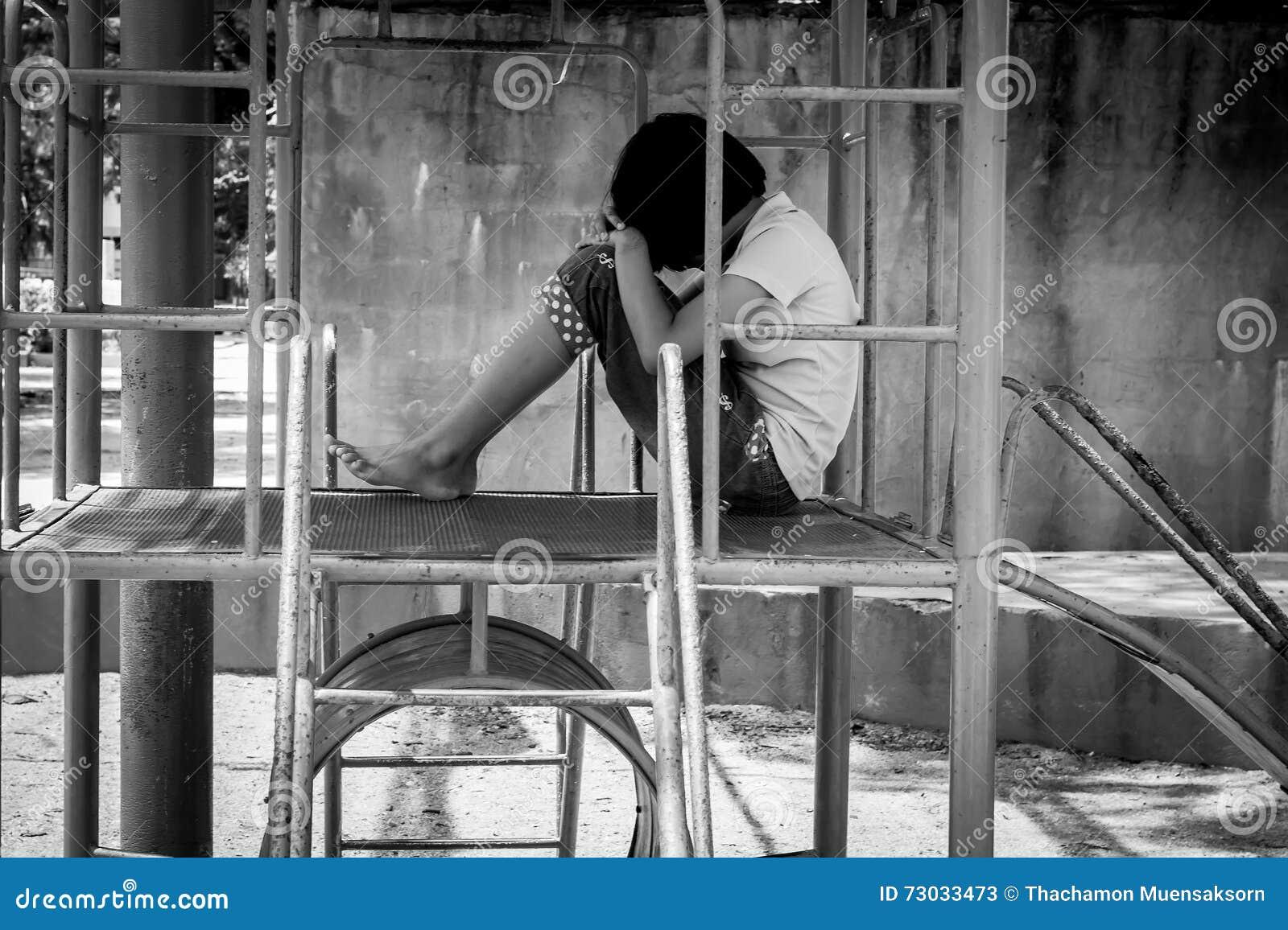 Girl pauper sitting alone at playground royalty free stock - Cartoon girl sitting alone ...