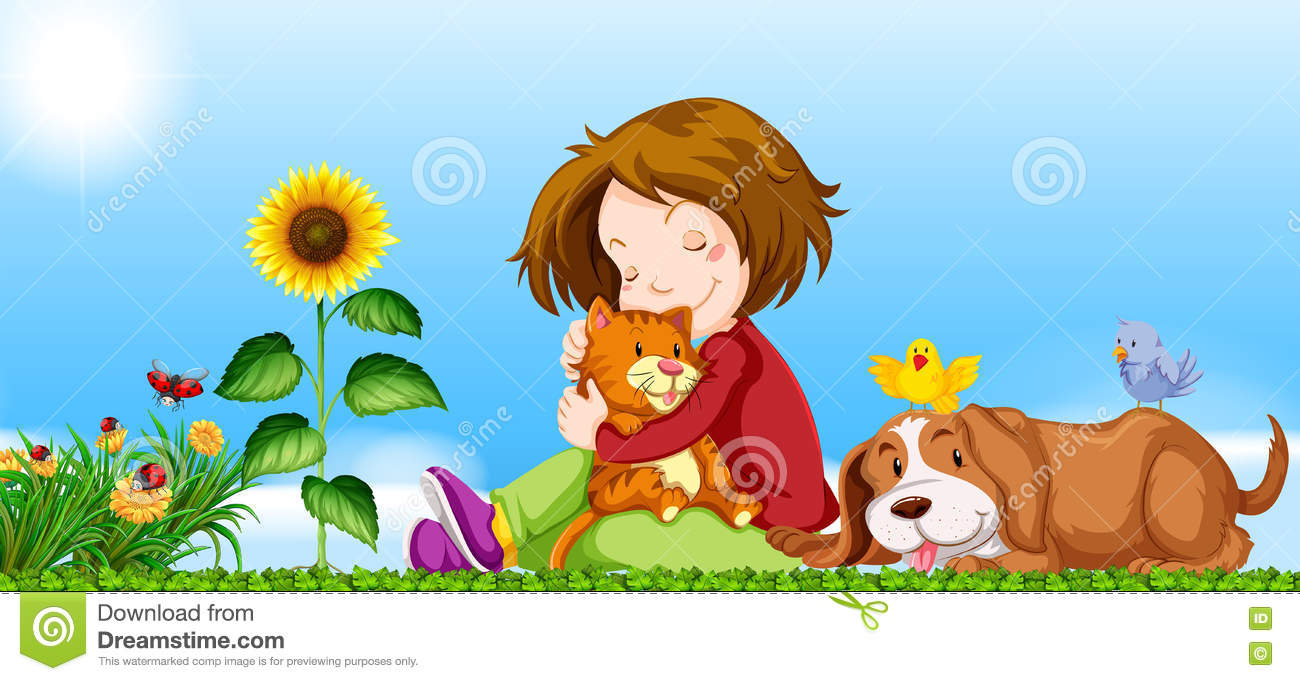 Girl and pets in the garden