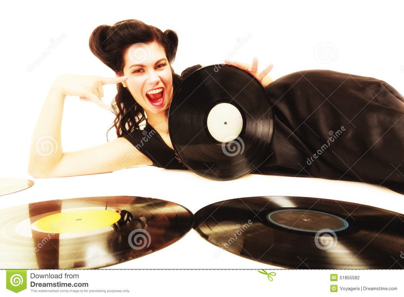 Girl With Phonography Analogue Records Music Lover Stock