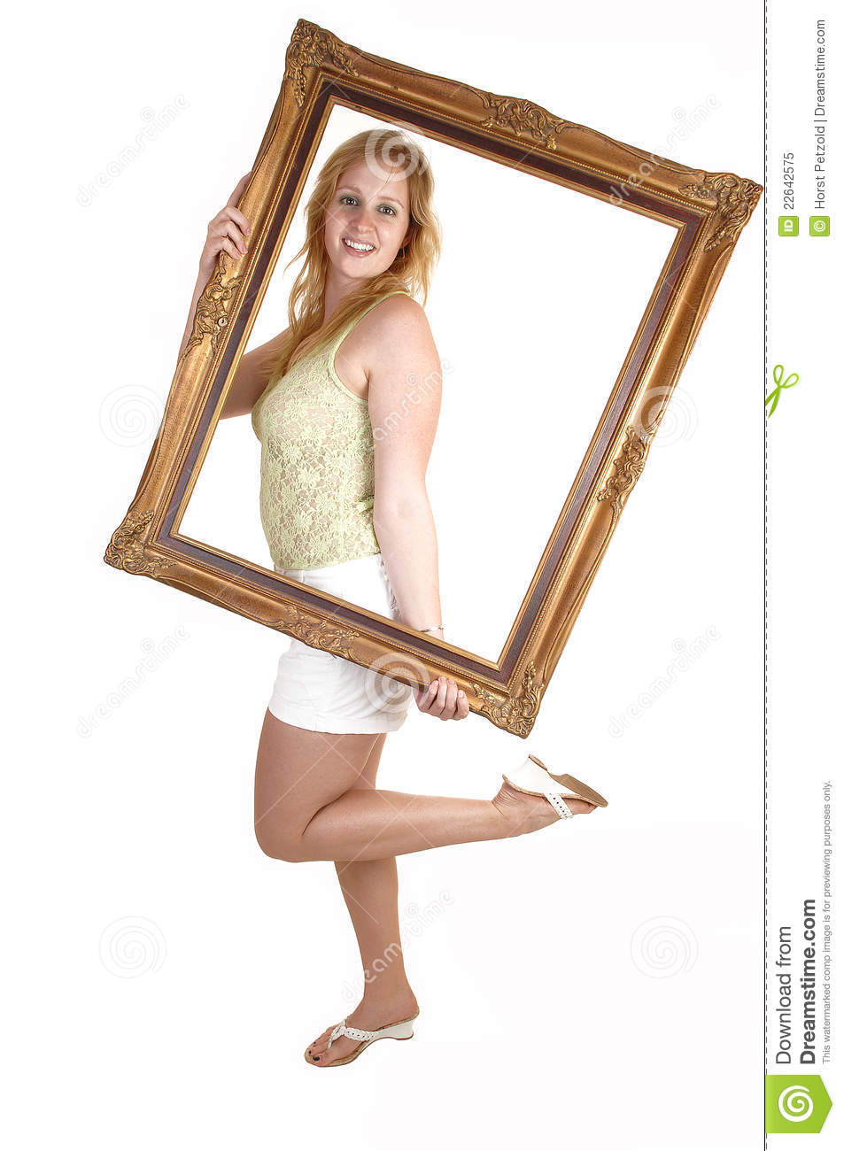 Girl with picture frame.