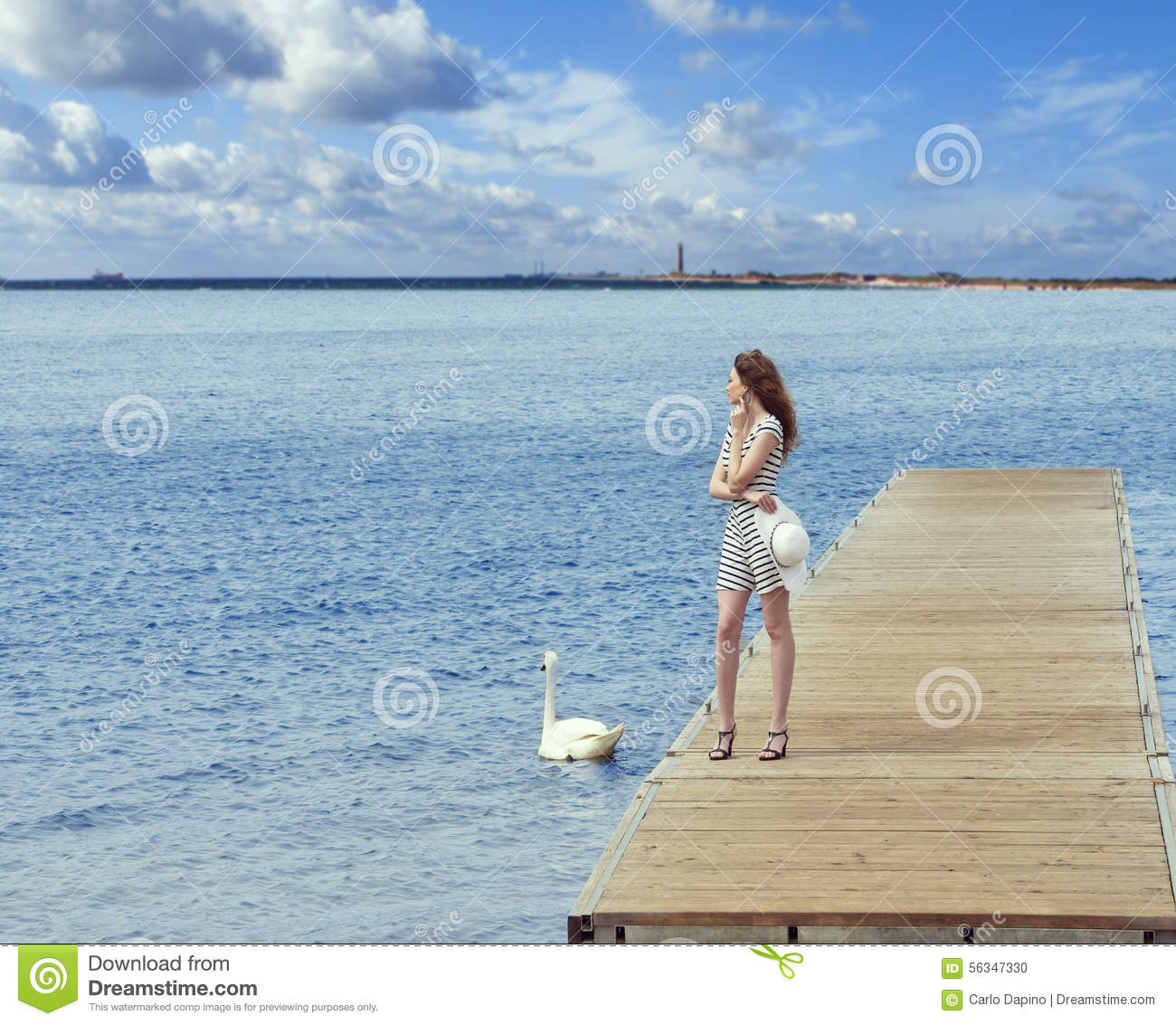 Girl on pier with swan