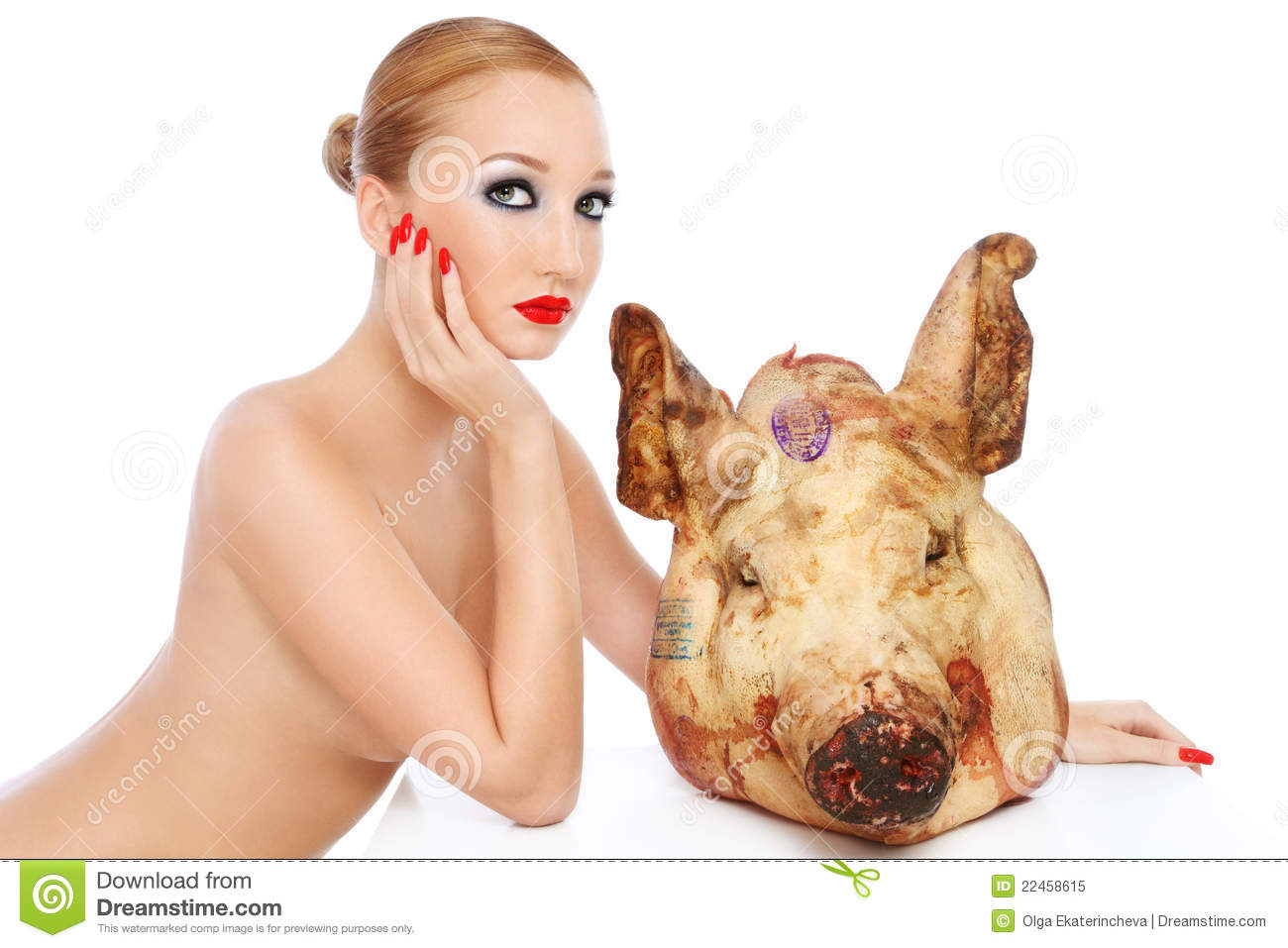 Naked pig girl fucking photo