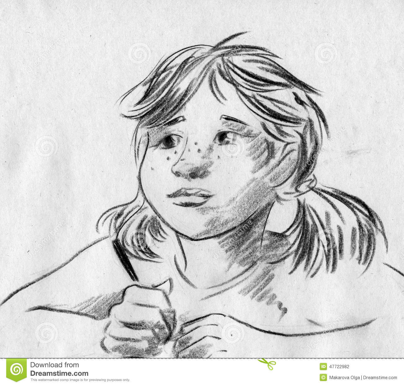 Girl With Pigtails Sketch Stock Illustration. Image Of
