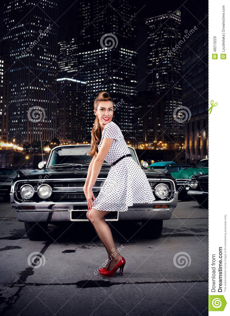 Girl Pin-up, Retro Car, Night City Stock Photo - Image ...