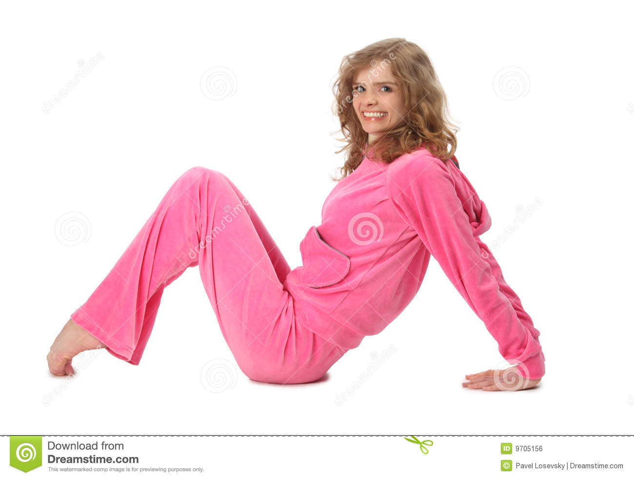 girl in pink clothes represents letter m royalty free
