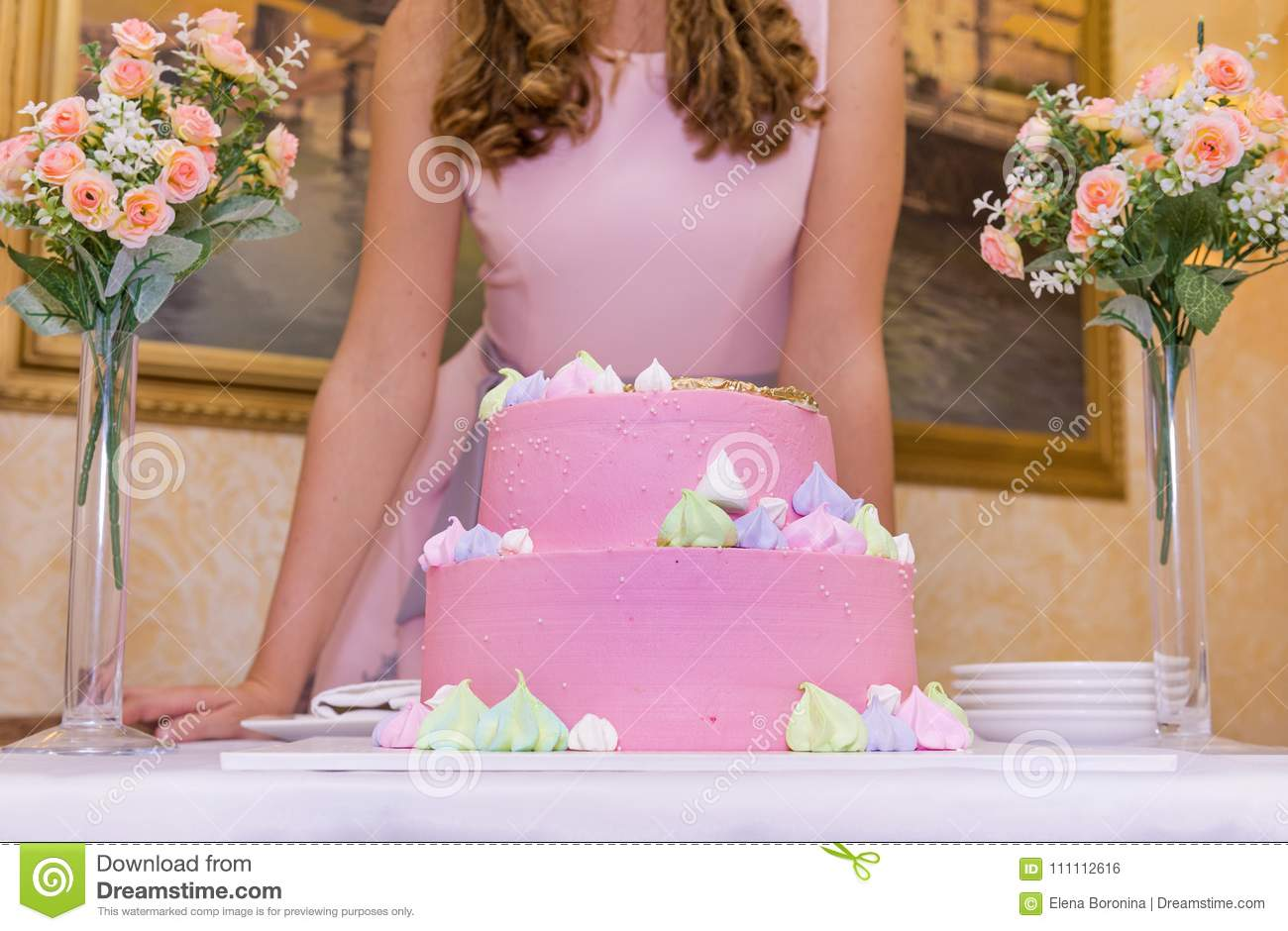 Girl In Pink Dress With Birthday Cake Covered Glaze 2 Bouquets Of Flowers