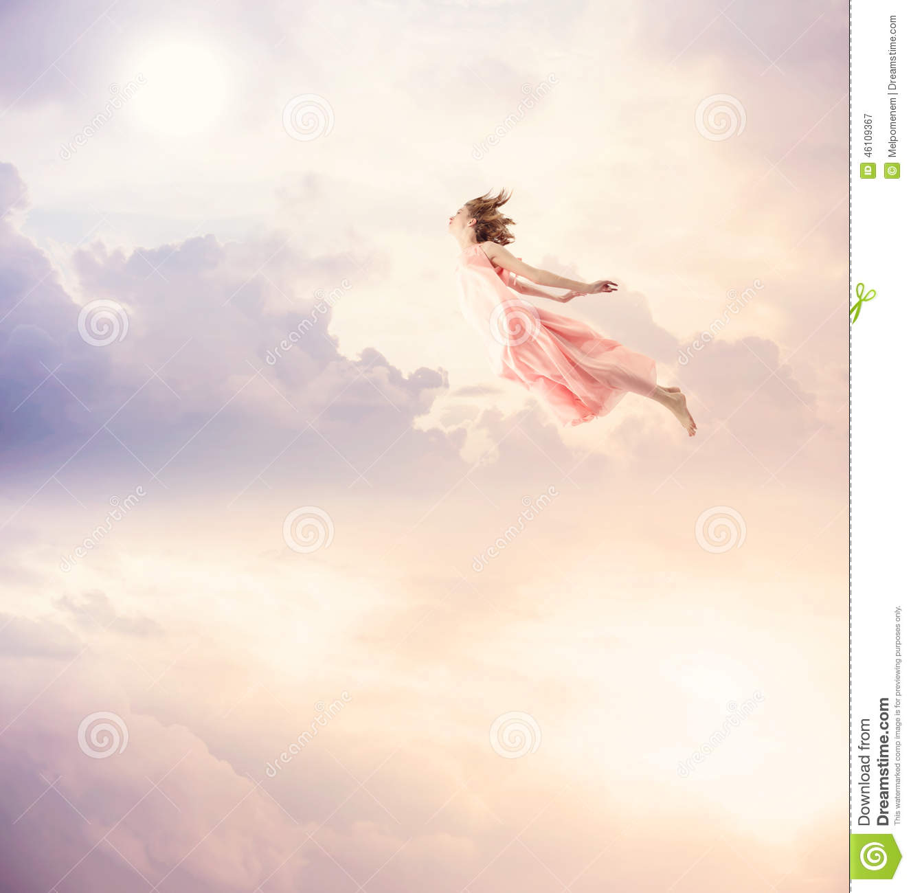 Girl In A Pink Dress Flying In The Sky Stock Photo - Image: 46109367 Superhero Flying Vector