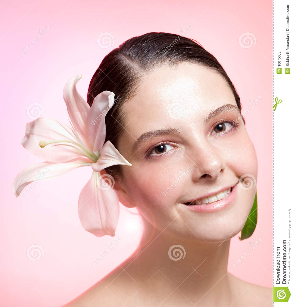 Girl With Pink Flower On Hair Stock Photo Image Of Plant Gladiola