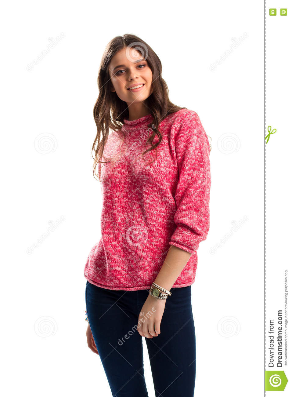 Girl In Pink Sweater Smiling. Stock Image - Image: 74855681
