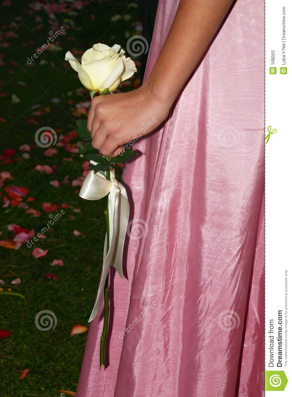 Girl in pink with white rose