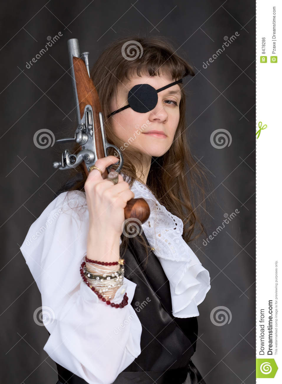 Girl - Pirate With Pistol In Hand And Eye Patch Stock