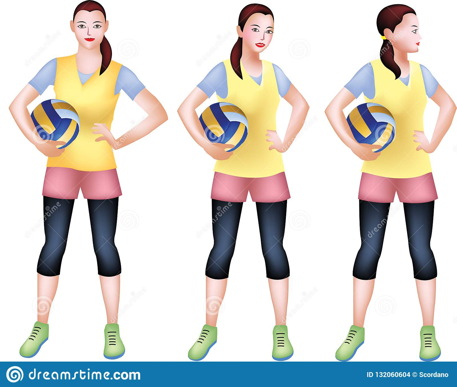 Volleyball Player With A Charm Stock Vector Illustration Of Female Player 132060604