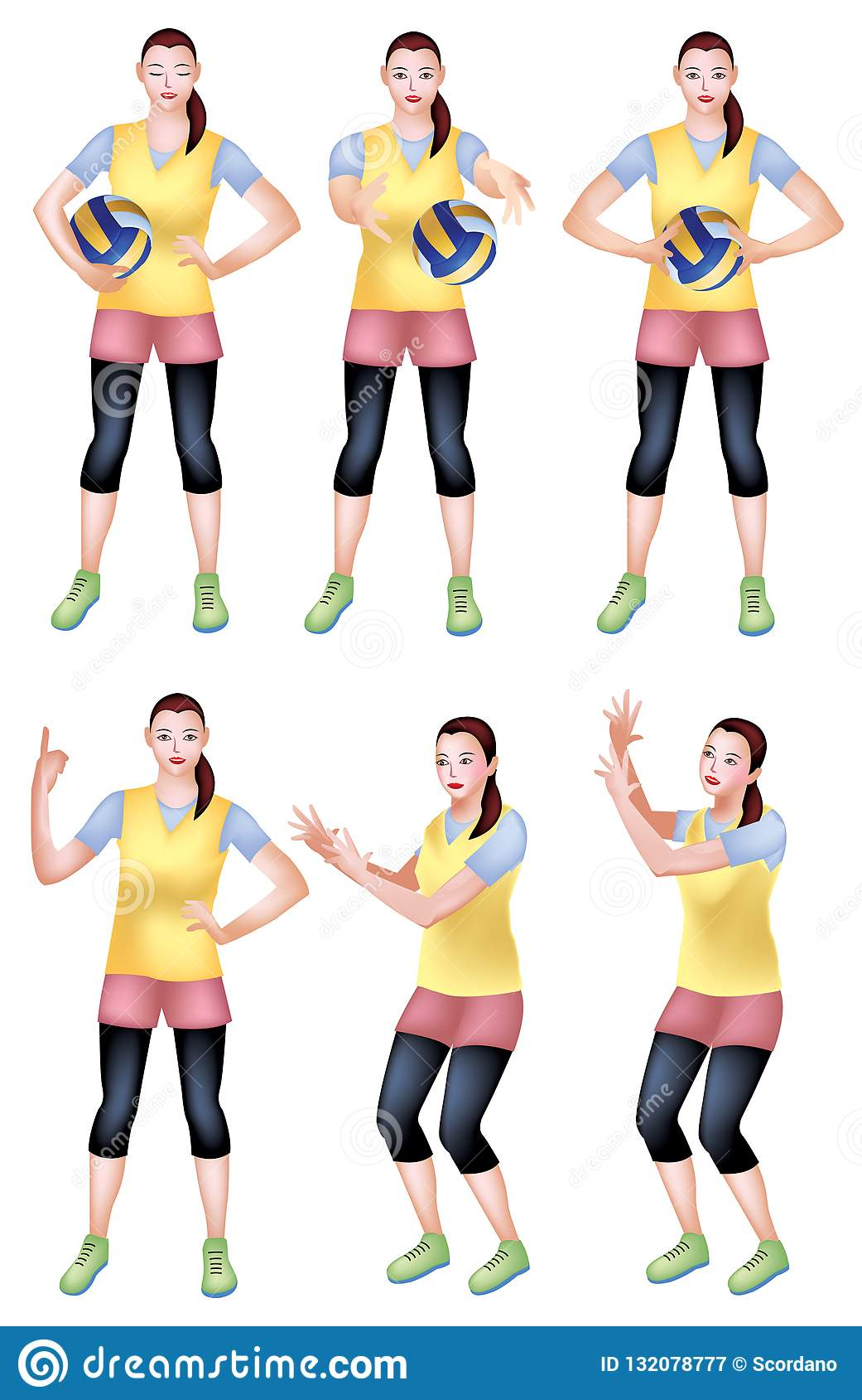 Volleyball Player Female Confident Post Stock Illustration Illustration Of Confident Sports 132078777