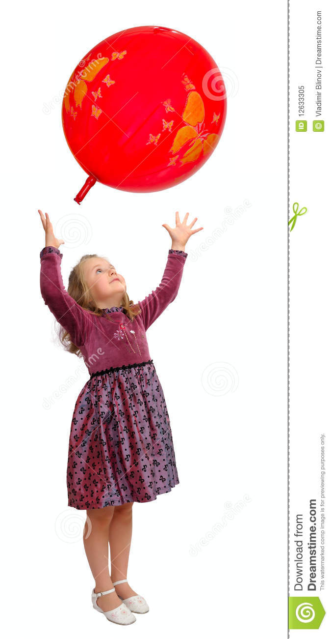 Little Girl Playing With Balloons At The Beach. Stock