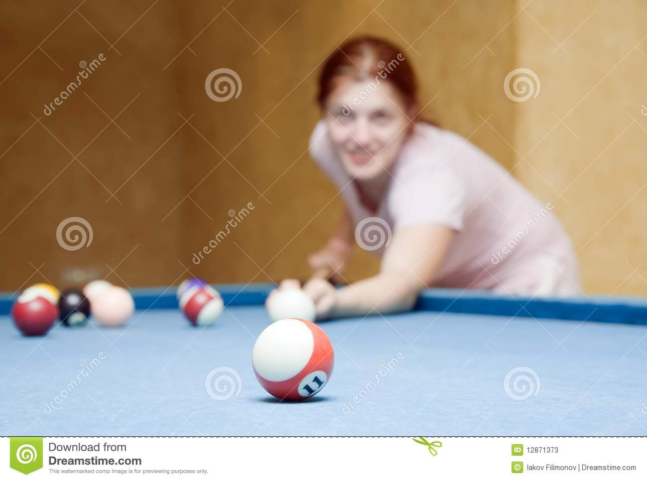 Girl Playing Billiards Stock Photos Image 12871373