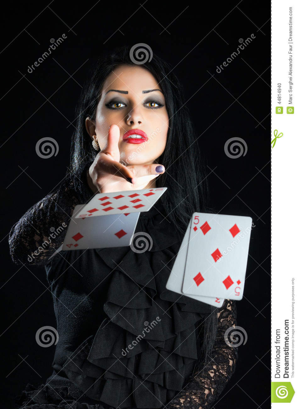 Girl With Playing Cards stock photo. Image of gambler