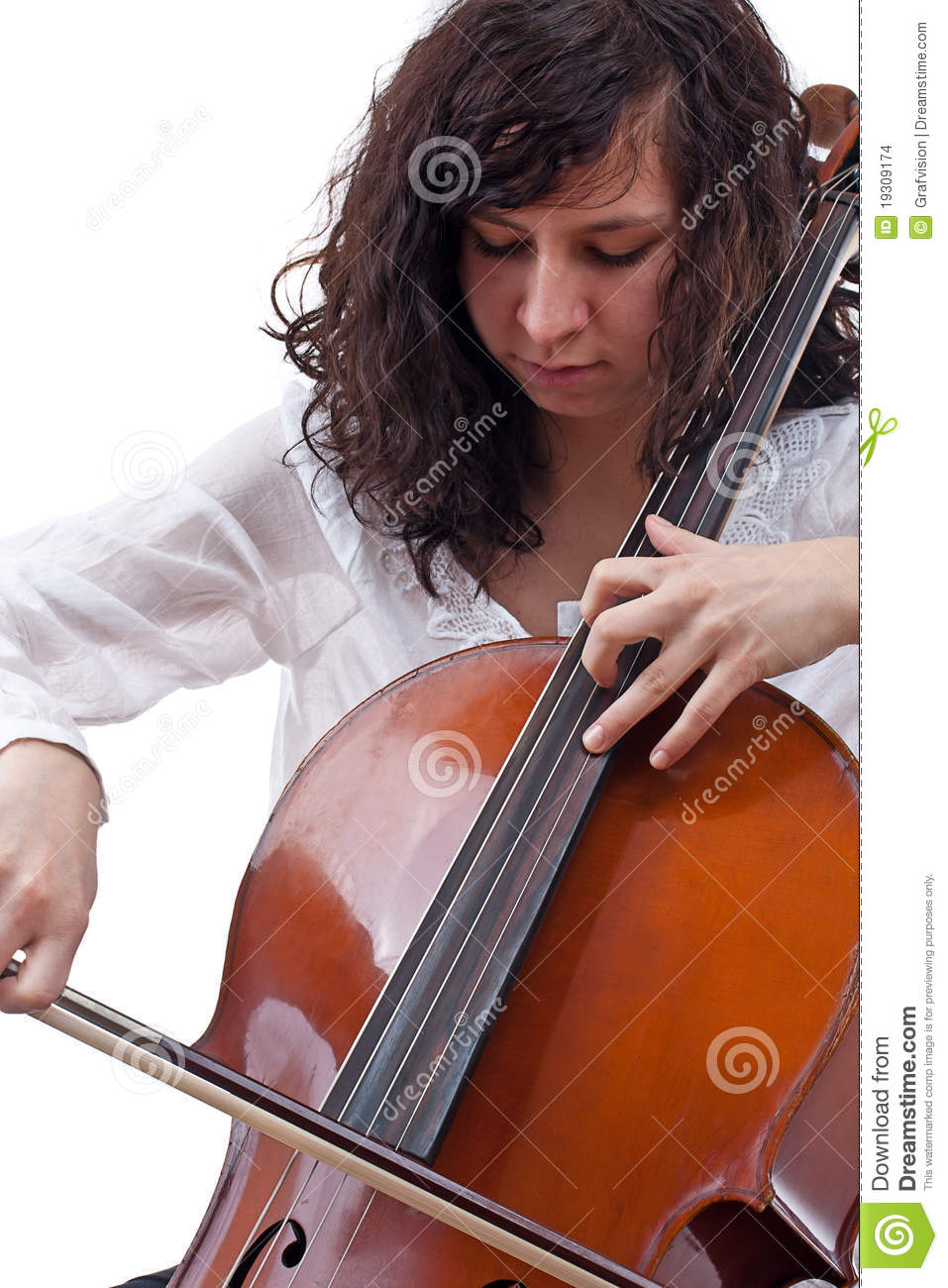 Girl playing cello stock photo. Image of hand, brown ...